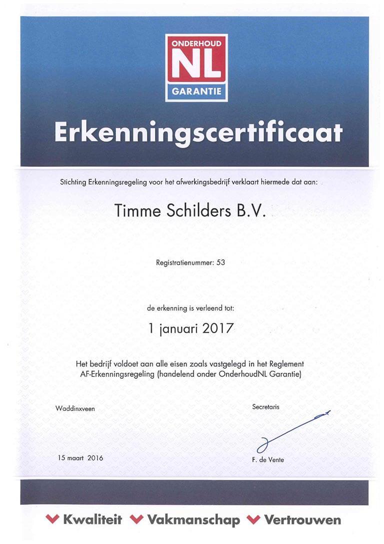 Timme Schilders onderhoud NL garantie erkenningscertificaat