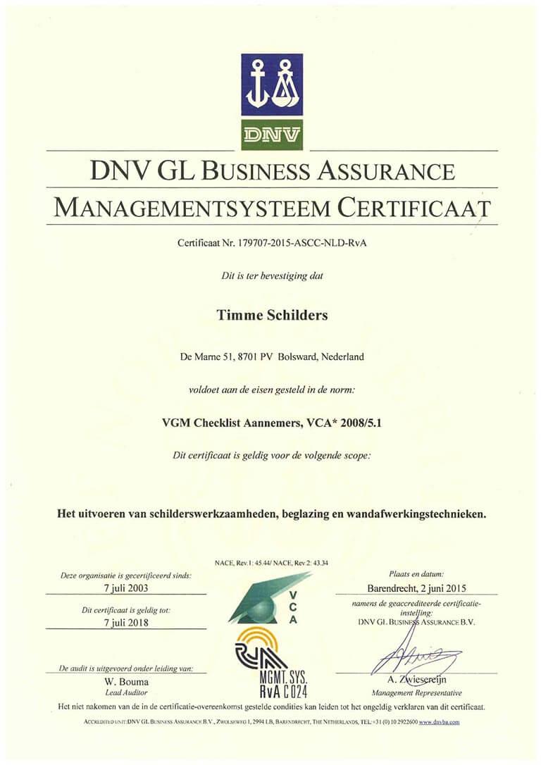 Timme Schilders DNV GL Business assurance managementsysteem certificaat